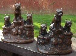 BOSTON TERRIER DOGS BOOK ENDS JENNINGS BROTHERS VINTAGE 1920 to 1935