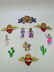 Set Of 11 Refrigerator Magnets Mexican Hand Painted Punched Tin, Wholesale Lot