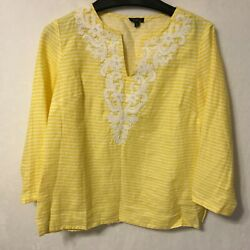 TALBOTS Size S Petite Bright Yellow 100% Linen Striped Bead Accent Blouse Shirt