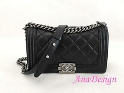 Chanel Black Lambskin Medium Crossbody Messenger Boy Bag RHW wAuthenticity Cert