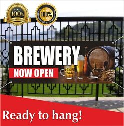 Brewery Now Open Banner Vinyl / Mesh Banner Sign Flag New Business Grand Opening