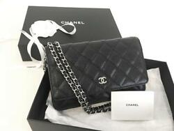 Authentic Chanel Black Wallet on Chain WOC Messenger Clutch Bag