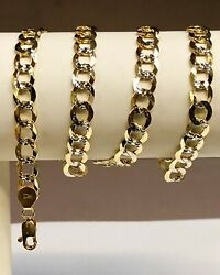 14kt Solid Yellow+white Gold Pave Curb Link 20 7 Mm 23 Grams Chain/necklace