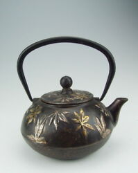 19c Japanese Iron Kettle Inlaid With Goldandsilver Flower Pattern