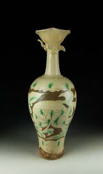 China Antique Tri-colored Pottery Bowl-mouthed Vase