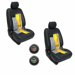 2 pcs Car Seat Heater Kit Carbon Fiber Universal Heated Cushion - Round Switch