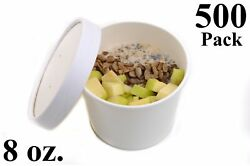 500 8 Oz. Round White Paper Disposable Deli Food Soup Containers With Lids