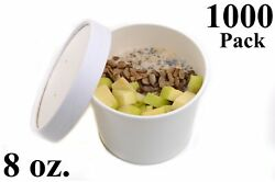 1000 8 Oz. Round White Paper Disposable Deli Food Soup Containers With Lids