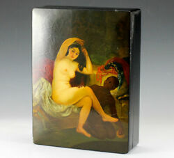 Russian Lacquerware Palekh Box, Signed, Dated 1917. Nude Servant Beauty