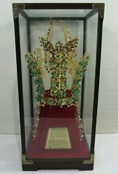 Rare 1980's Chonma-ch'ong Gold Crown 24kt. Plated With Jade Stones