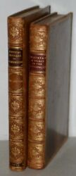 Pair Of Early 19th Century Leather-bound Books W/ Engravings By Rowlandson