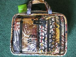 NWT~NEW ~ VERA BRADLEY ~ 4 PC COSMETIC ORGANIZER ~ PAINTED FEATHERS ~ CLEAR BAG