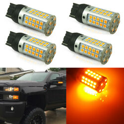 4x CANbus LED Bulbs For 14-19 Chevy Silverado 2500 3500 Amber Front Turn Signal
