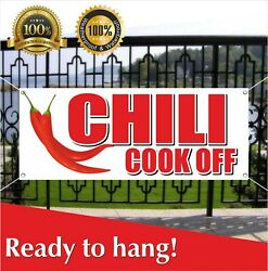 Chili Cook Off Banner Vinyl / Mesh Banner Sign Fried French Fries Fish Burger