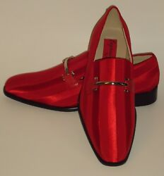 Mens Amazing Red Satin Stripe Tux Dress Loafers Shoes Expressions 6757