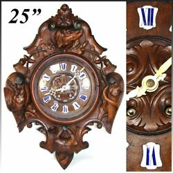 Antique Victorian Era Black Forest Carved 25 Wall Or Parlor Clock, Hunt Theme