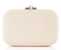 Judith Leiber Pearl ivory White Slide Lock Evening Bag Gold Crystals Purse NEW