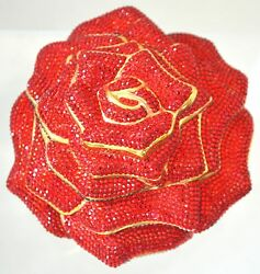 IJudith Leiber ROSE Red Flower Crystal Clasp Bag Evening GOLD Vintage Minaudiere