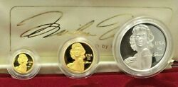 Perth Mint American Legend Marilyn Monroe Gold And Silver Medallion Set With Coa