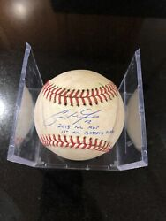 Christian Yelich Hit Game Used Baseball 2018 Year Brewers Mvp Signed Inscribed
