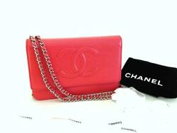 Authentic Chanel Red Wallet on Chain WOC Messenger Crossbody Clutch Bag
