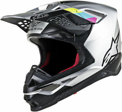 Alpinestars MX Motocross Supertech M8 Contact Helmet (Silver/Black) Choose Size