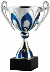 Silver and Blue Metal Trophy Cup Award. Free Engraving. $17.99