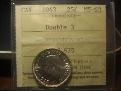 Canada 25 Cents 1943 Double 3 Iccs Ms-63