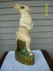 Vintage Vaillancourt Chalkware Tall Rabbit 20 Signed And Dated