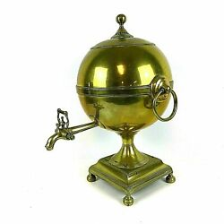 19 / 18th Century English Brass Samovar Hot Water Urn Signed J And W Grieve