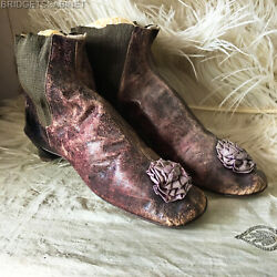 Early 19th. Century French Leather Purple Violet Shoes Boots