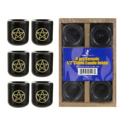 Mega Candles Ceramic 1 2quot; Chime Spell Candle Holder Gold Set of 6
