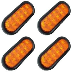 4x 6 Led Amber Oval Turn Signal Stop Tail Lights Truck Trailer Rv Kits Sealed