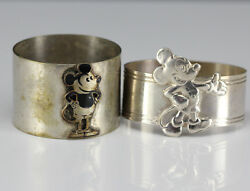 2pc Napkin Rings Disney 1930s Steamboat Willie And Contemporary Mickey Mouse