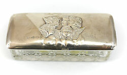 Henry Matthews Birmingham Sterling Silver And Crystal Trinket Box 1904 Hand Chased