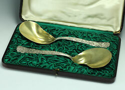 2pc Set And Co Sterling Silver Berry Server Spoons In Original Box C1923