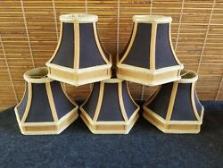 Pierre Deux Style French Regency Hexagon Satin 5 Clip Lamp Shades Black Gold
