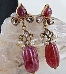 Antique Natural Ruby Carved 64.50 Carats 22k Gold Diamond Pearl Jadau Earring