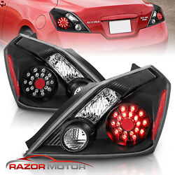 For 2008-2013 Nissan Altima 2dr Coupe Black Led Rear Brake Tail Lights Pair