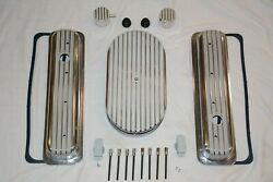 Finned Small Block Chevy Center Bolt Valve Covers Air Cleaner Filter + Breathers