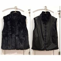 Giacca Gallery Reversible Faux Mink Fur Vest Jacket Black Size Small Women's