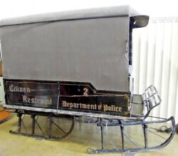 Antique  Sleigh Paddy Wagon  Canvas Top Restraint 2 Department Of Police.