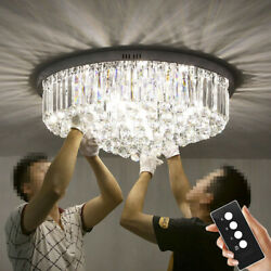 K9 Crystal Chrome Stainless Steel Ceiling light With LED Bulb and Remote Control