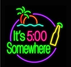 New Itand039s 500 Oand039clock Somewhere Palm Tree Bottle Beer Neon Light Sign 24x20