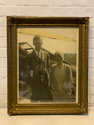 Antique Signed Charles A Lindbergh & Anne Morrow Silver Gelatin Photograph