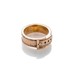 14K Rose Gold Belt Buckle Style Vintage Ring Handmade Fine Jewelry Gift Size 5-9