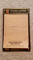 Vintage Truax Coal Advertising Notepad From Minot N,d. Purina Chows