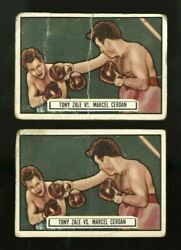 1951 Topps Ringside Boxing 44 Tony Zale Marcel Cerdan Puzzle Back Nno 2 Cards