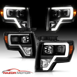 2009-14 Black Headlights Pair For Ford F150 [led Bar] Driver And Passenger