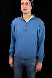 Peter Millar 1/4 Zip Menand039s Pull Over Sweater Size Medium Blue 100 Cotton M Used